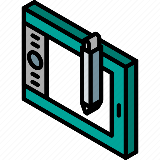 drawing, iso, isometric, tablet, tech, technology icon