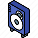 iso, isometric, speaker, tech, technology icon