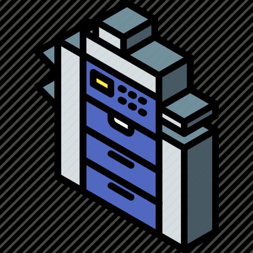 iso, isometric, printer, tech, technology icon