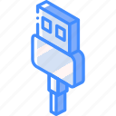 connection, iso, isometric, tech, technology, usb icon