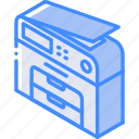 copier, iso, isometric, photo, tech, technology icon
