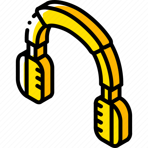 headphones, iso, isometric, tech, technology icon