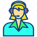 assistance, customer, customer service, headset, service, user, woman icon