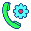 cal, call, configure, gear, phone, telephone icon