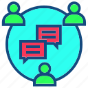 bubble, chat, communication, group, interaction, interconnection, talk icon
