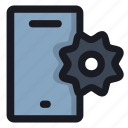 cell, gear, mobile, phone, settings icon