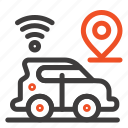 car, location, map, technology icon