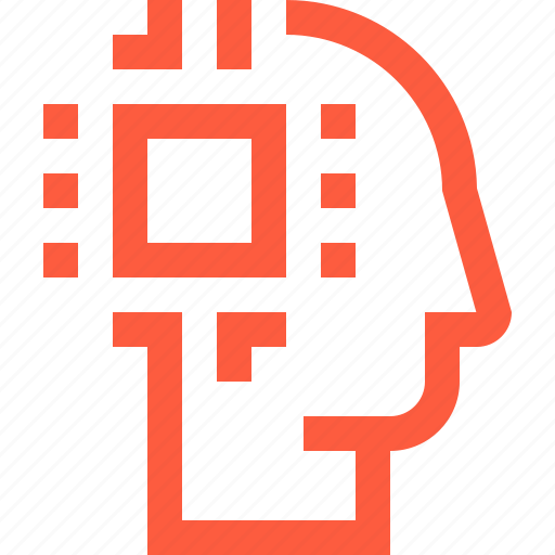 ai, android, artificial, chip, computer, head, human, intelligence, robot, technology icon