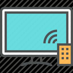 control, display, monitor, remote, smart, television, tv icon