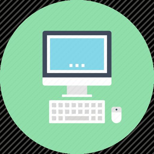 computer, desktop, device, hardware, keyboard, monitor, pc icon