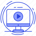 media player, tutorial, video player, video screen, video streaming, video watching icon