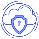 cloud computing, cloud hosting, cloud protection, cloud security icon