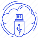 cloud data saving, cloud storage, cloud technology, external storage, flash drive icon