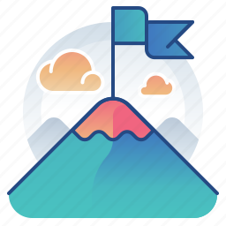 achievement, flag, mountain, target icon