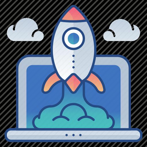 laptop, launch, rocket, startups icon