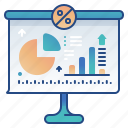 analytics, presentation, statistic, white board icon