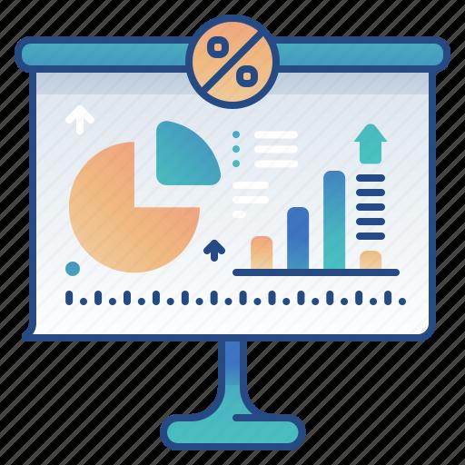 analytics, presentation, statistic, white board icon