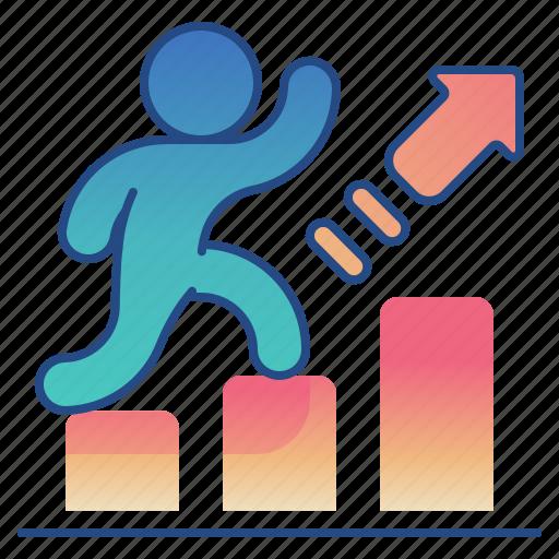 arrow, bar, chart, success icon