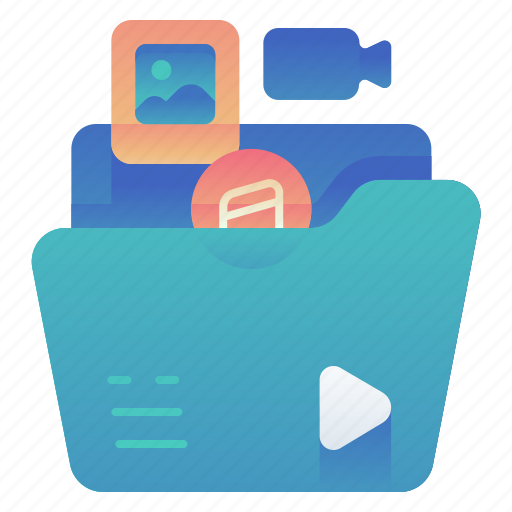 files, folder, media, multimedia icon