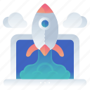 laptop, launch, rocket, startups icon