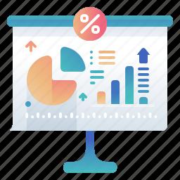 percentage, precentage, statistic, white board icon