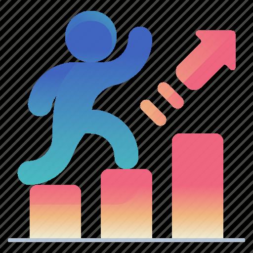 arrow, chart, success icon