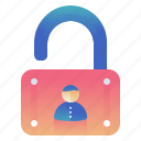 lock, protection, security, user icon