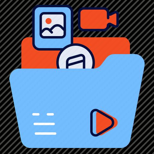 files, folder, media, multimedia icon