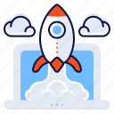 computer, laptop, rocket, startups icon