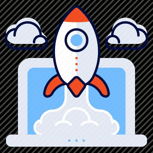 computer, laptop, rocket, startups icon