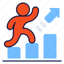 arrow, bar, chart, success icon
