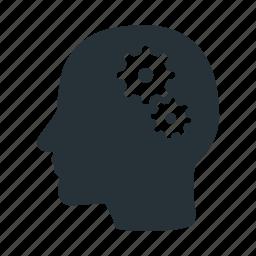 action, brain, head, human, settings, think, work icon