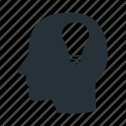 brain, bulb, creative, head, human, idea, think icon