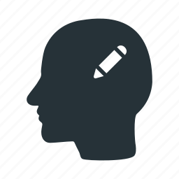 brain, edit, head, human, pen, think, write icon