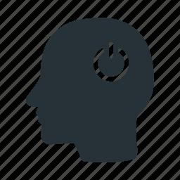 brain, creative, head, human, power, think, turn icon