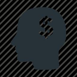 brain, dollar, head, human, money, think, usd icon