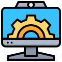 computer, desktop, gear, monitor, technology icon