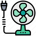 fan, plug, technology, wind icon