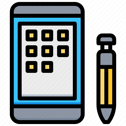 app, pen, smartphone, tablet, technology icon