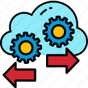 cloud, server, technology, cogwheel, gear