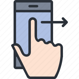 gesture, iphone, mobile, phone, right, swipe, technology icon
