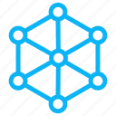 computer, electronic, hexagon, internet, technology icon
