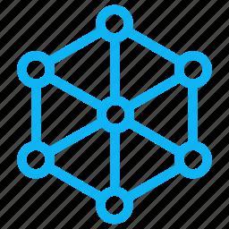 computer, electronic, hexagon, internet, technology icon