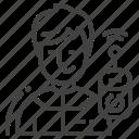 boy, controller, drone, operator icon