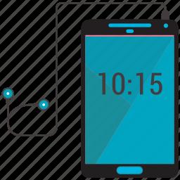communication, headphone, listening, mobile, phone, time icon