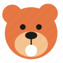 amazed, bear, cartoon, expression, funny, teddy icon
