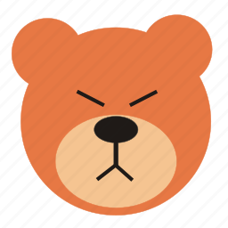 angry, bear, cartoon, expression, funny, teddy icon