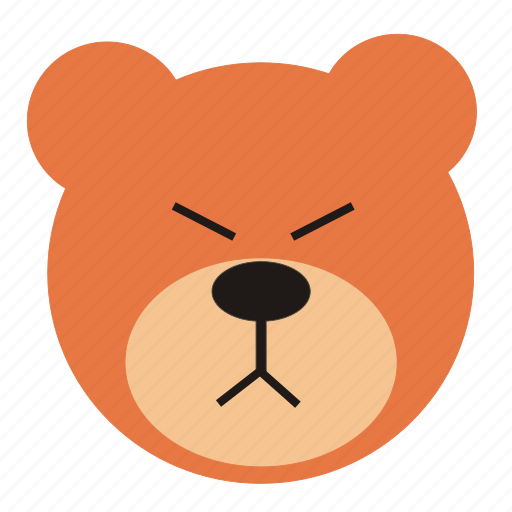 angry, bear, cartoon, expression, funny, teddy icon