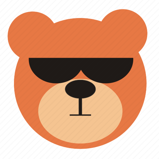 bear, cartoon, cool, expression, funny, teddy icon