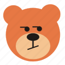 bear, cartoon, curious, expression, funny, teddy icon